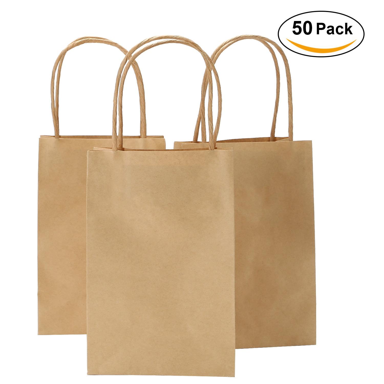 "5.5""x3.3""x8"" - 50/100 pcs - TKOOFN Kraft Paper Bag - Shopping bag with Handles, Shopping Durable Reusable Merchandise Retail Bags Brown/Black"