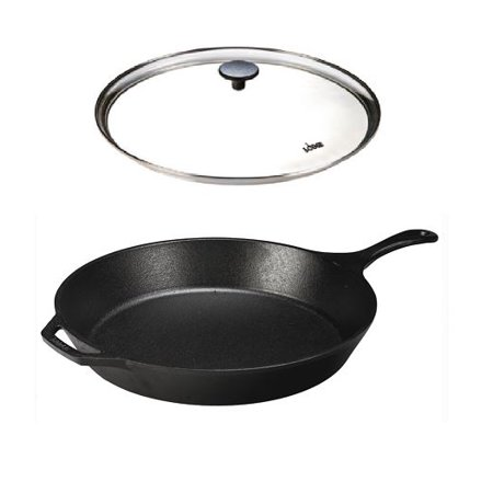 Lodge Seasoned Cast Iron Skillet with Tempered Glass Lid (15 Inch) - Cast Iron Frying Pan with Lid (Glass Icon)