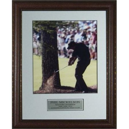 CTBL-010898 Phil Mickelson Unsigned 2010 Masters Custom Leather Framed Shot of His Life - 11 x 14