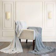 "Modern Threads Batik 100% Cotton Throw Blanket with Fringe, 50"" x 60"", Gray, 2 Pack"