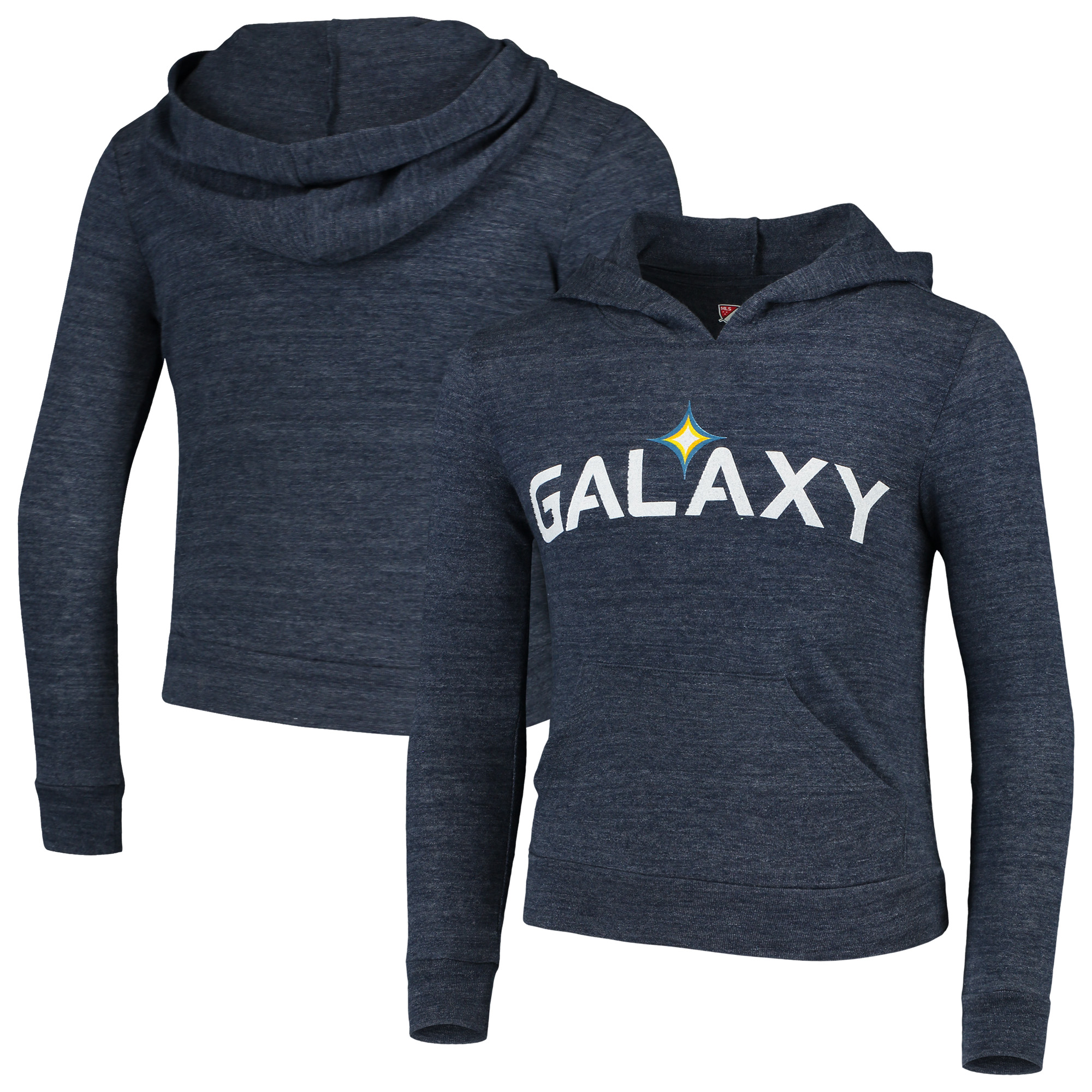 LA Galaxy 5th & Ocean by New Era Girls Youth Tri-Blend Pullover Hoodie - Heathered Navy