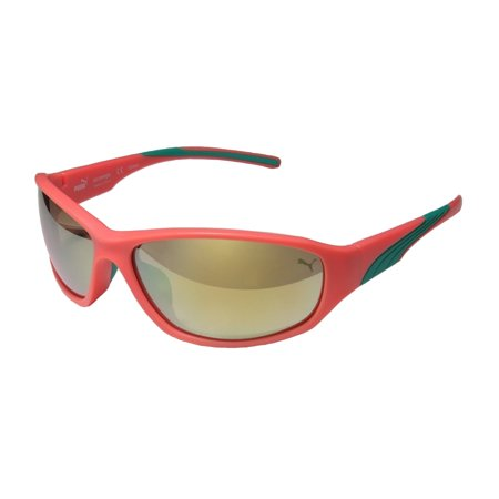 New Puma 15165 Skimmer Mens/Womens Designer Full-Rim Mirrored Neon Peach Color Combination Brand Name Shades Sunnies Frame Mirrored Pink Lenses 64-15-130 Sunglasses/Shades