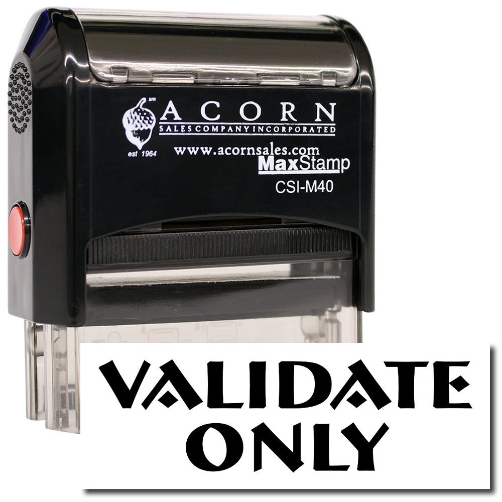 Large Self-Inking Validate Only Stamp with Orange Ink