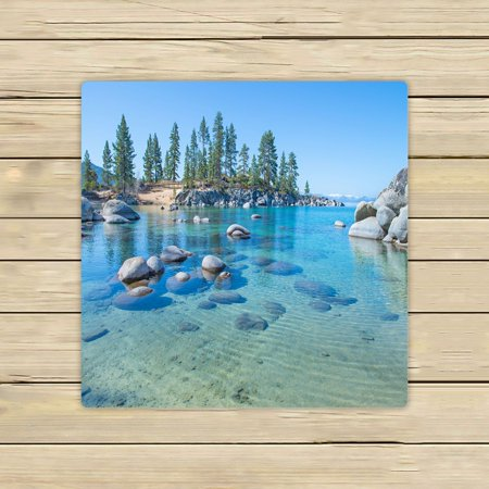 PHFZK Nature Scenery Towel, Beautiful Blue Water on the Shore of the Lake Hand Towel Bath Bathroom Shower Towels Beach Towel 13x13 (Beautiful Blue Water)