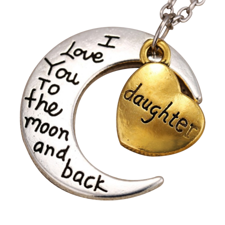 Art Attack Memory Of Daughter Sister Love You To The Moon   Back Memorial Pendant Child Charm Necklace