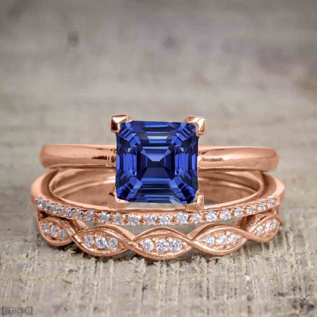 Art Deco 1.5 Carat Princess Cut Real Sapphire and Diamond Wedding Trio Ring Set with Engagement Ring and 2 Wedding Bands in 18k Gold Over Silver