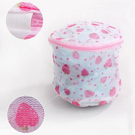 Bra Underwear Washing Protect Mesh Laundry Bag with Strawberry/Rose (Orla Kiely Climbing Rose Hanging Wash Bag)