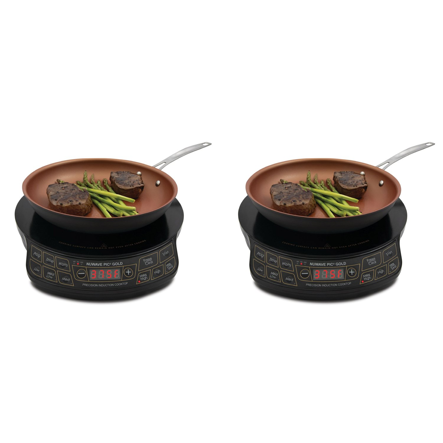 NuWave PIC 1500 Watt Precision Induction Cooktop w 10.5 Inch Frying Pan (2 Pack)