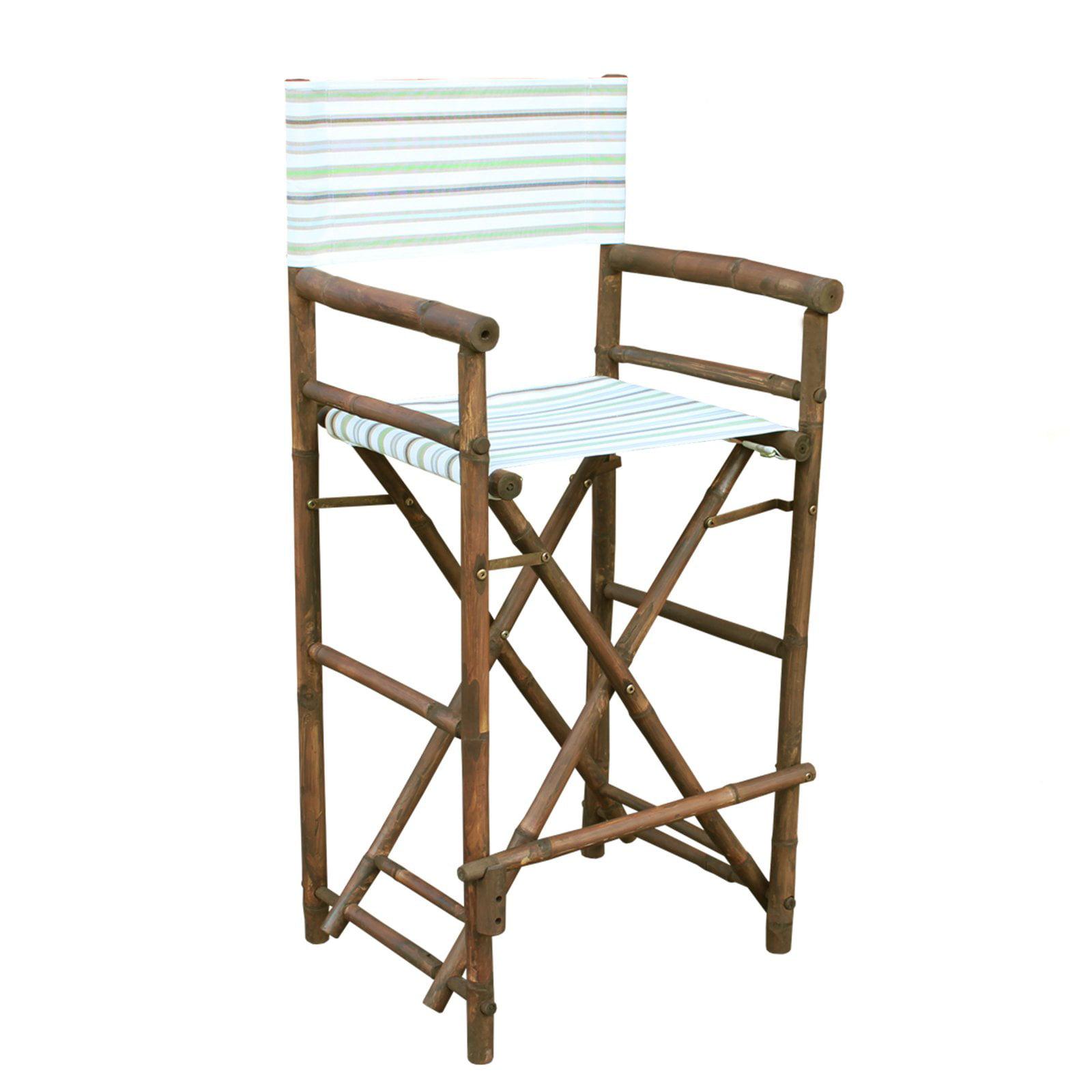 Statra Bamboo Indoor Outdoor Canvas Directors Chair Barstool - Set of 2