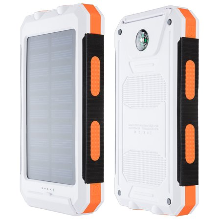 10000Mah Solar Charger Usb Power Bank Phone Battery W Flashlight Compass Orange
