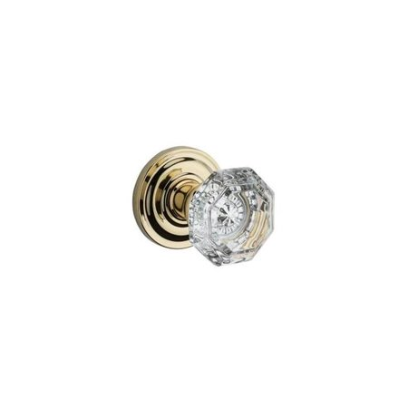 Crystal Dummy Door Knob Set with Traditional Round Trim, Polished Brass