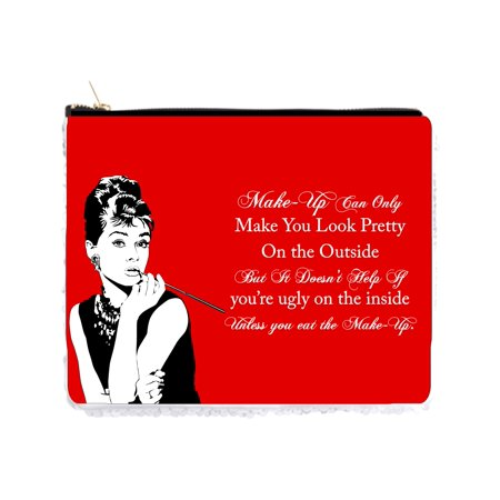 Audrey Hepburn Makeup Quote in Vintage Style Red - 2 Sided 6.5