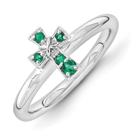 Created Emerald Cross - Rhodium Sterling Silver Stackable Created Emerald 9mm Cross Ring