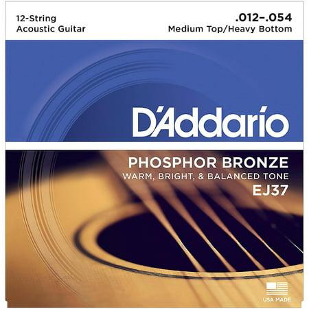 Solid Top 12 String Dreadnought (D'Addario EJ37 12-String Phosphor Bronze Acoustic Guitar Strings - Medium Top Heavy)