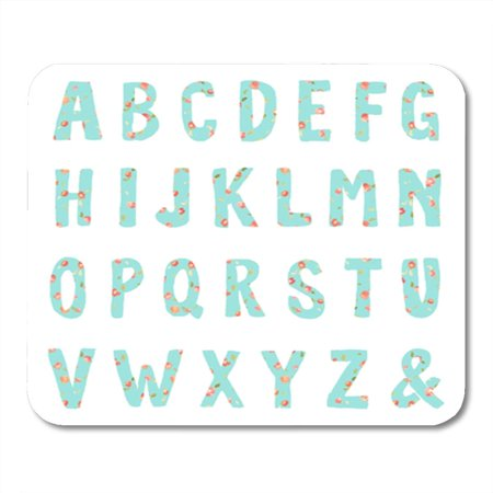 KDAGR Watercolor Girly Letters Alphabet with Floral Blue ABC Chic Coral Cute Cute Mousepad Mouse Pad Mouse Mat 9x10 inch (Alphabet Letter Pad)