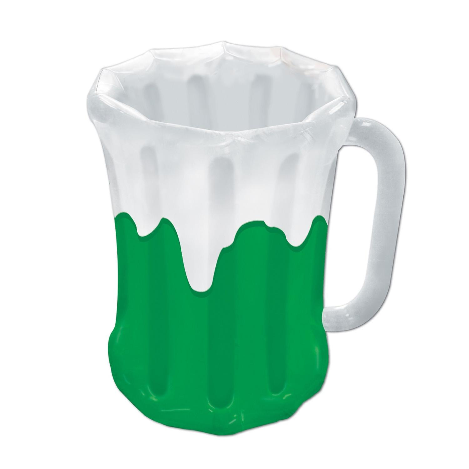 """Pack of 6 Inflatable Green and White Beer Mug St. Patrick's Day Cooler 27"""" by Party Central"""