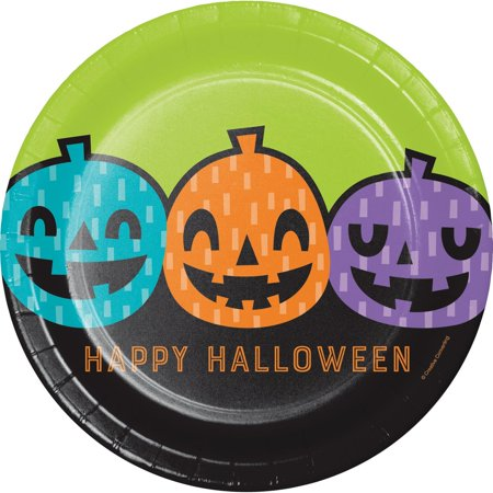 Dark Cloud 2 Halloween Theme (Pack of 12 Light Green and Black Halloween Themed Rounded Plate)