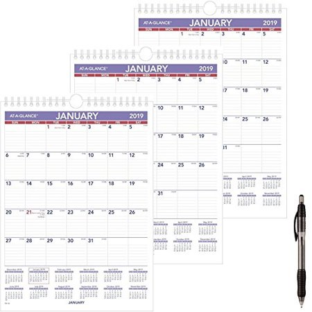 January 2019 Calendar 8x11 at a glance pm128 18 monthly wall calendar, january 2019