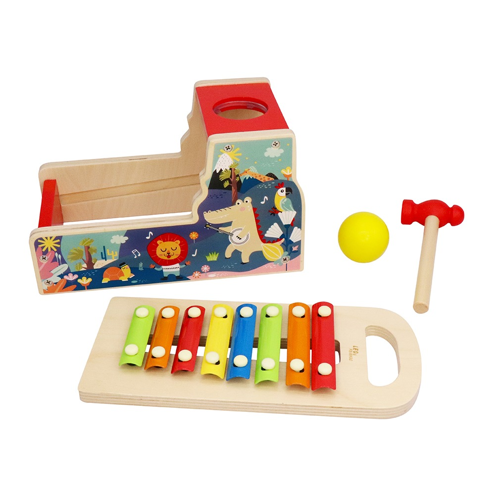 Leo /& Friends School Bus Pound and Tap Bus Bench Durable Musical Pounding Toy 1 Hammer Perfect Educational Gift 8 Colorful Blocks and 1 Rainbow Xylophone Wooden Toy Bus with Slide Out Xylophone