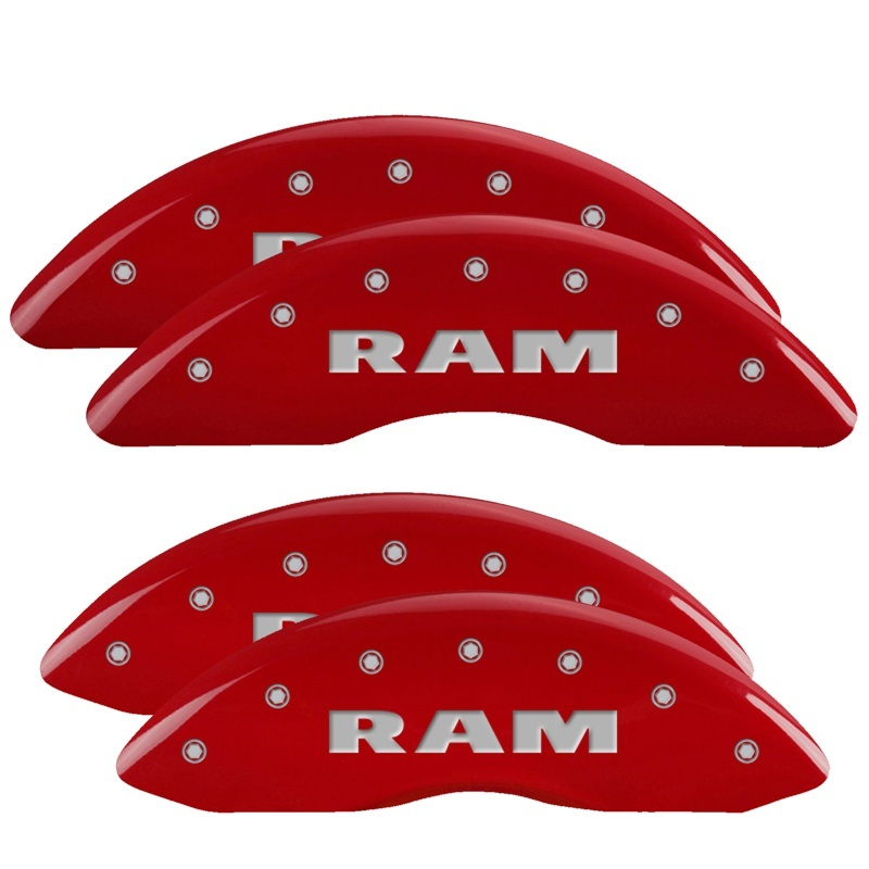 MGP 4 Caliper Covers Engraved Front & Rear RAM Red finish silver ch