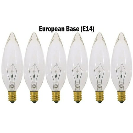 (6 Pack) 40 Watt Clear European Base (E14) Torpedo Tip 120V Chandelier Bulbs