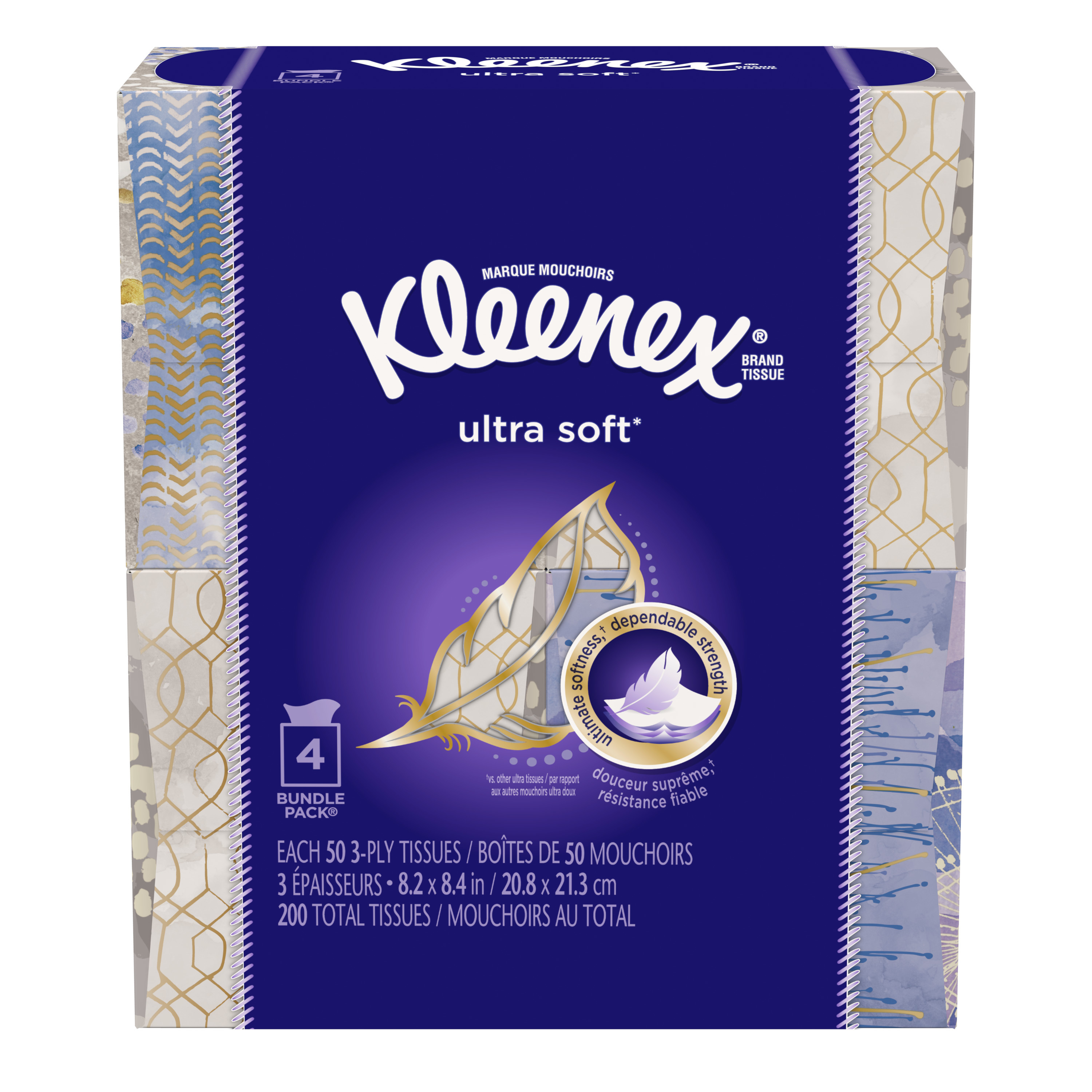 Kleenex Ultra Soft Facial Tissues, 50 Ct, Pack of 4