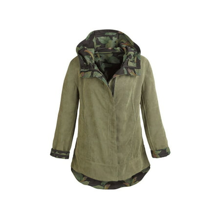 - Women's Army Green Reversible Corduroy Hooded Jacket