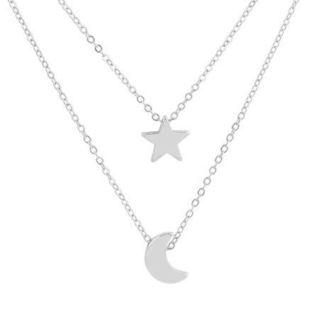 Double Layer Women Necklace Geometric Moon Star Girl Adjustable Neck Pendant Dangle Chain Body Jewelry Gift