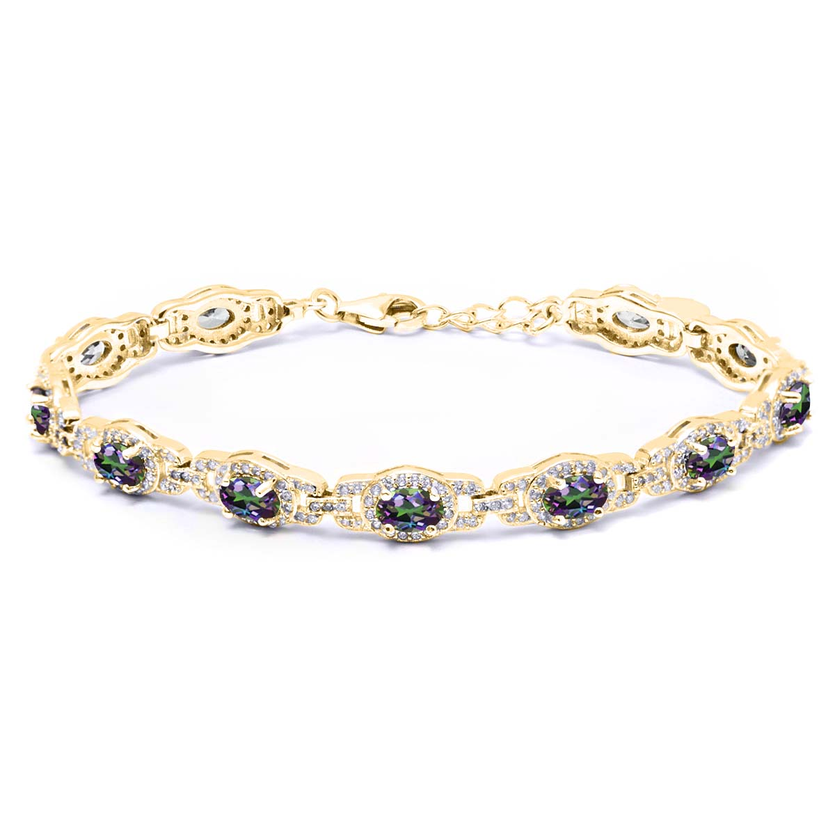9.65 Ct Oval Green Mystic Topaz 18K Yellow Gold Plated Silver Bracelet by