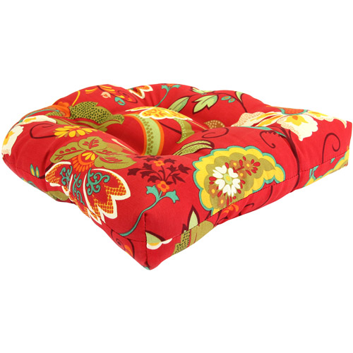 Jordan Manufacturing Floral Outdoor Patio Tufted Wicker Seat Cushion