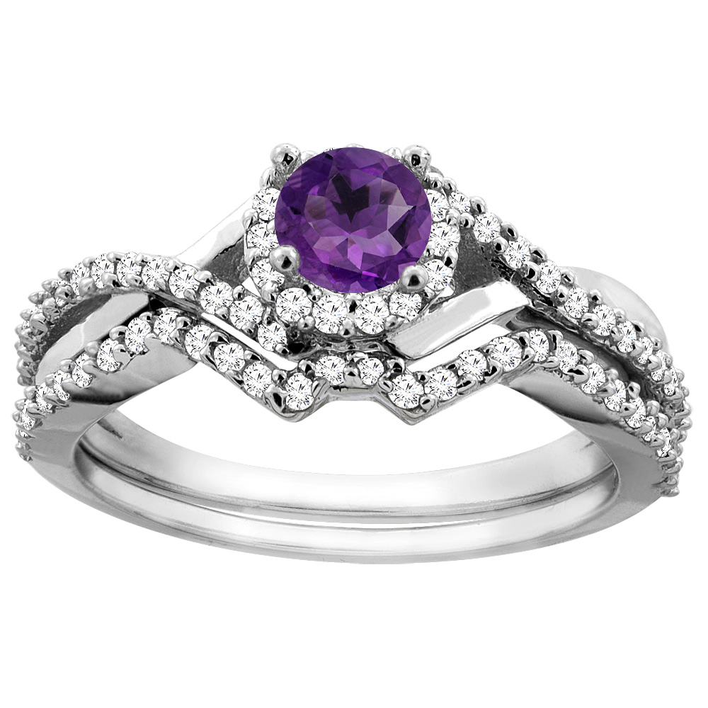 14K White Gold Natural Amethyst 2-piece Bridal Ring Set Round 5mm, size 6 by Gabriella Gold