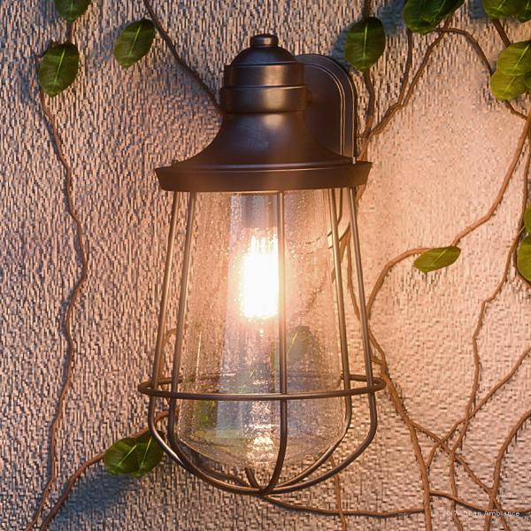 """Urban Ambiance Luxury Vintage Outdoor Wall Light, Medium Size: 17""""H x 9.5""""W, with Nautical Style Elements, Cage Design, Estate Bronze Finish and Seeded Glass, Includes Edison Bulb, UQL1122"""