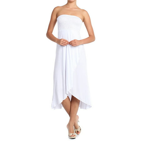 Modern Kiwi Solid Versatile High Low Cover-Up Dress Skirt