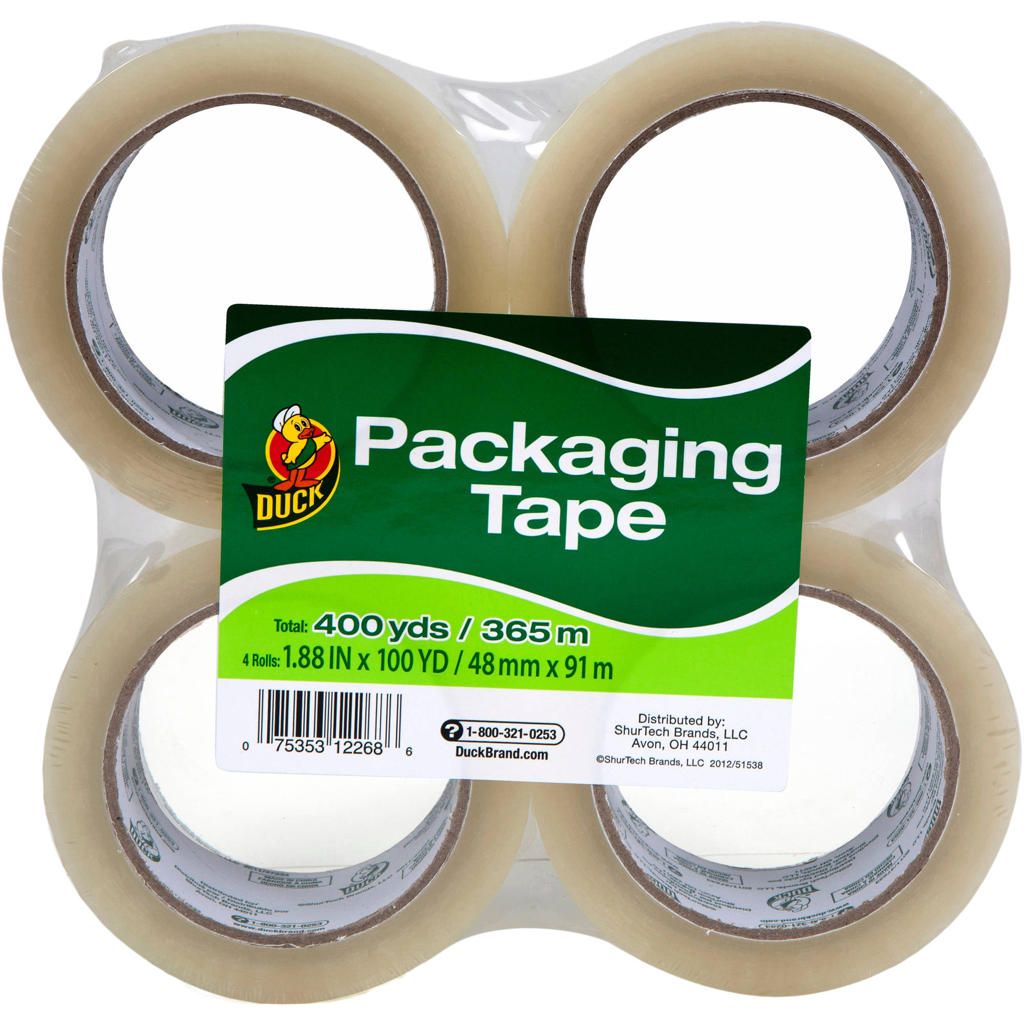 "Duck Brand Packaging Tape, 1.88"" x 100 yd, 4pk Clear"