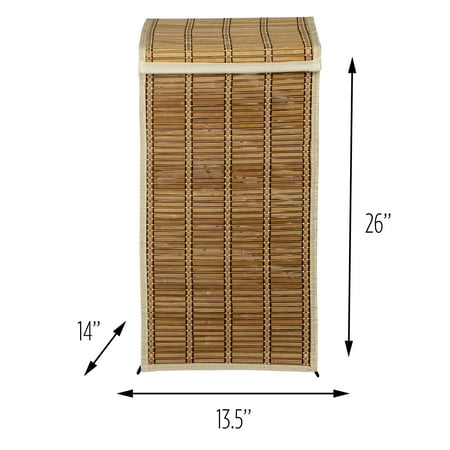 Honey Can Do Tall Bamboo Wicker Weave Hamper with Steel Frame, Brown ()