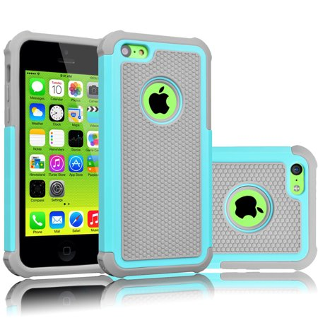 iPhone 5C Case, Tekcoo(TM) [Tmajor Series] [Turquoise/Grey] Shock Absorbing Hybrid Impact Defender Rugged Slim Case Cover Shell For Apple iPhone 5C Hard Plastic Outer + Rubber Silicone -