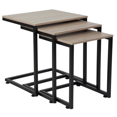 Flash Furniture Midtown Collection Sonoma Oak Wood Grain Finish Nesting Tables with Black Metal Cantilever (Oak Table Bases)