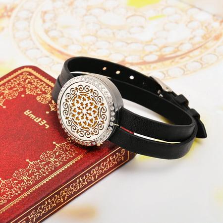Vintage Flower Aromatherapy Essential Oil Diffuser Bracelet Adjustable Locket