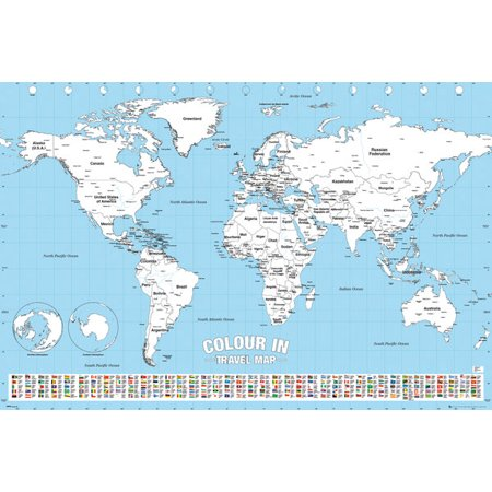 Color In Travel World Map - Poster / Print (Color Your Visited Countries) (Size: 36