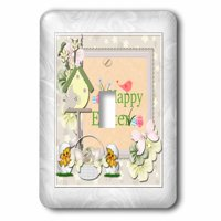 3dRose Happy Easter, Birds, Birdhouse, Eggs, Basket, Chicks and Flowers - Single Toggle Switch (lsp_302938_1)