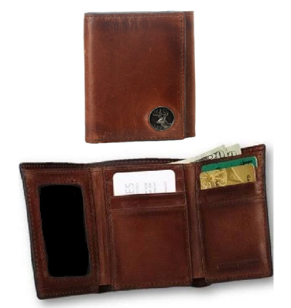 Caramel Brown Premium Leather Trifold Wallet with Buck Critter Concho