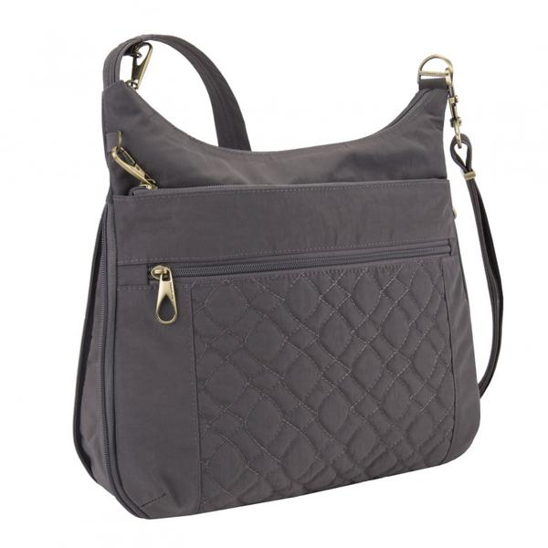 Travelon Anti-Theft Signature Quilted Expansion Crossbody Smoke
