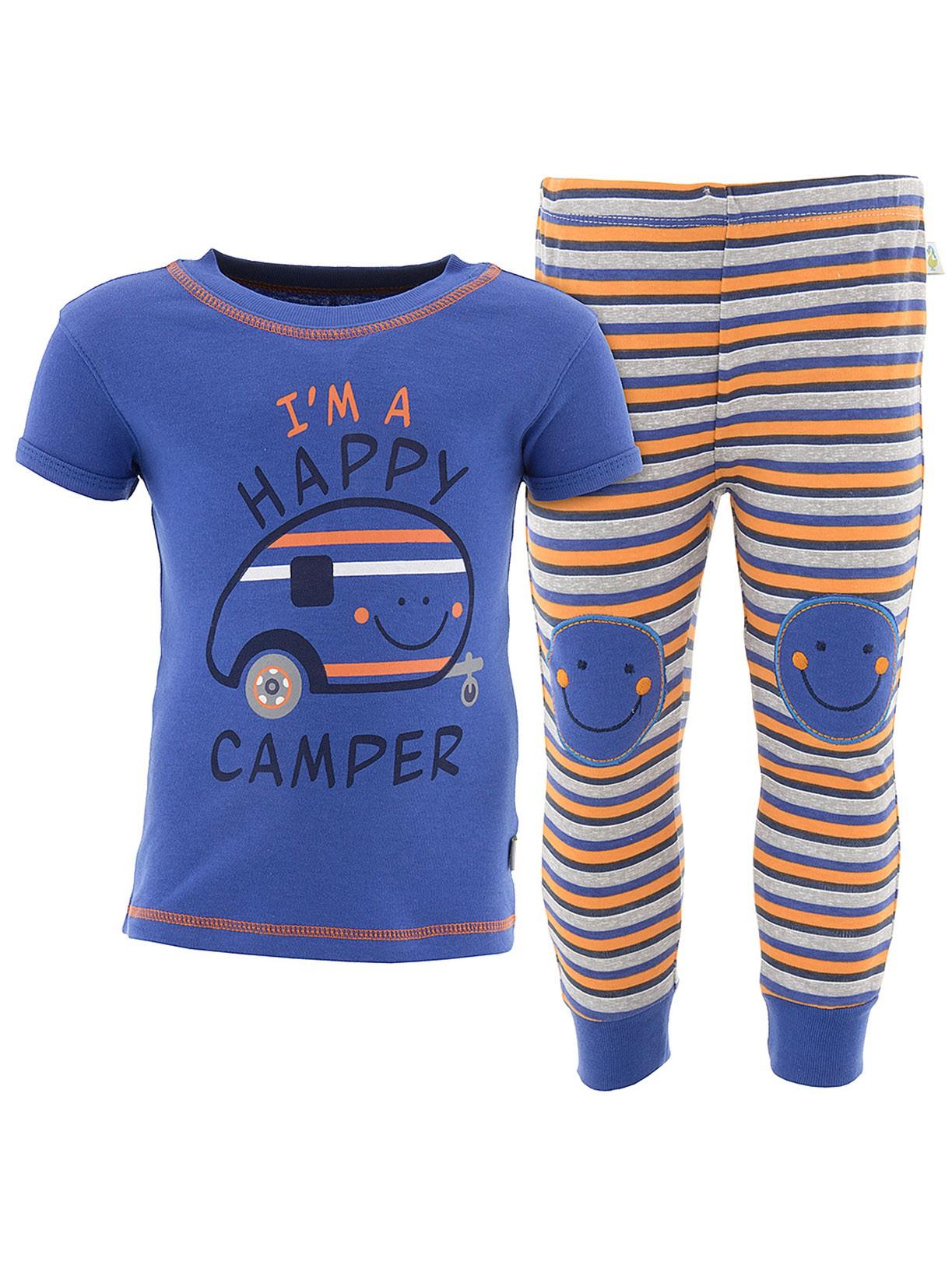 Duck Duck Goose Boys Happy Camper Blue Cotton Pajamas