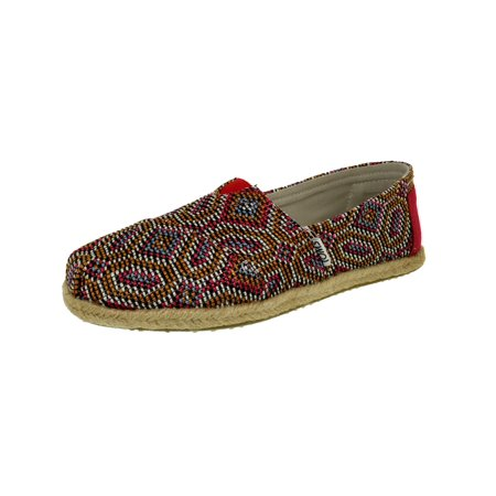 Toms Women's Alpargata Woven Pink Multi Ankle-High Fabric Slip-On Shoes -