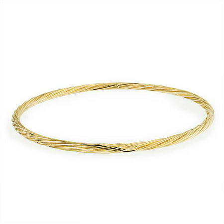 Twist Rope Cable Stackable Round Bangle Bracelet 18K Gold Plating Brass For Women 8 Inch