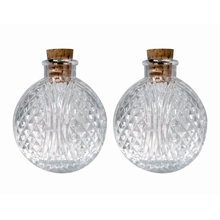 Perfume Studio 6oz Round Glass Bottle with Cork. Set of Two Round Clear Cut Glass Bottles Ideal for Diffuser Reeds, Oils, Bath Products, Wedding Favors, Craft Projects, Gifts & - Glass Bottle Projects