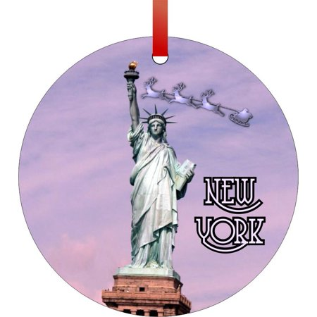 Santa and Sleigh Riding Over The Statue of Liberty - New York TM - Double-Sided Round-Shaped Flat Aluminum Christmas Holiday Hanging Ornament with a Red Satin Ribbon. Made in the USA! Santas New Sleigh
