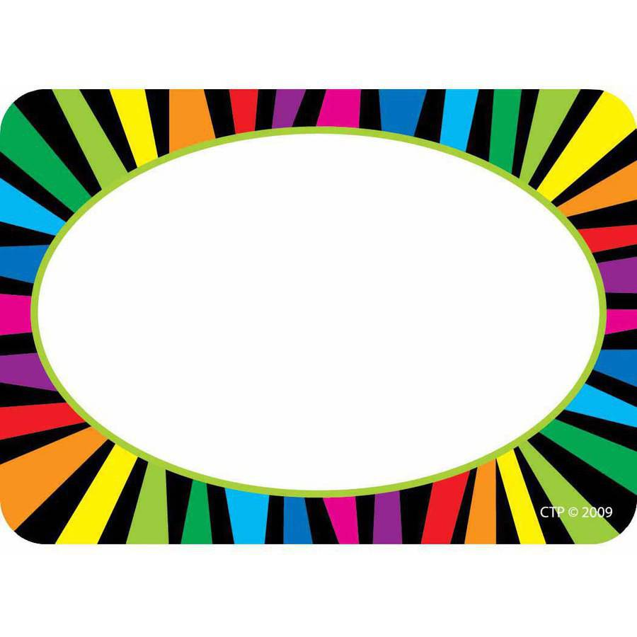 Creative Teaching Press Name Tags, Rainbow Stripes, Pack of 36