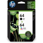 HP 64 Ink Cartridges - Black, Tri-color, 2 Cartridges (X4D92AN)