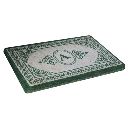 36 Monograms Door Mat (First Impression Handcrafted Green Filigree Decorative Border Extra-thick Monogrammed Doormat - 22